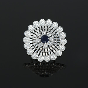 Rhodium Plated Sapphire Blue American Diamond Adjustable Ring