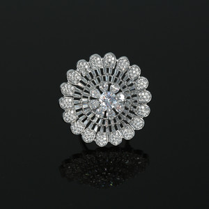 Rhodium Plated Clear American Diamond Adjustable Ring