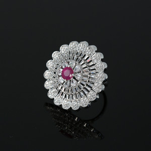 Rhodium Plated Ruby American Diamond Adjustable Ring