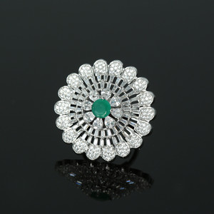Rhodium Plated Emerald American Diamond Adjustable Ring