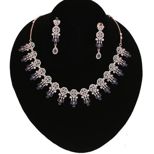 Sapphire Blue Ad Design Look Party Wear CZ Necklace