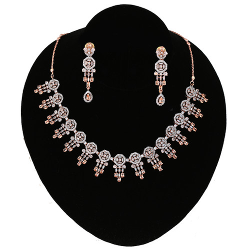 Golden Topaz Ad Design Look Party Wear CZ Necklace
