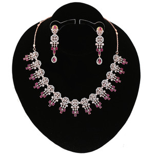 Pink Ruby Ad Design Look Party Wear CZ Necklace