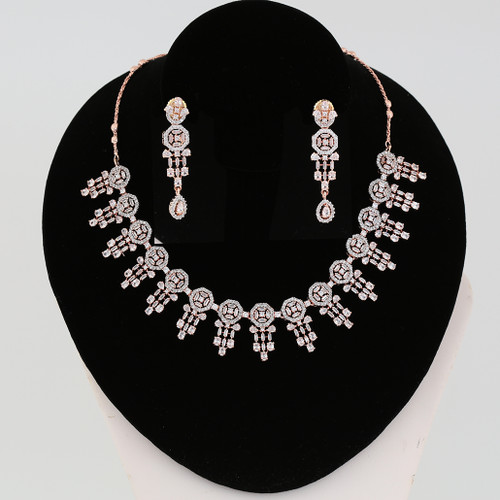 Clear Crystal Ad Design Look Party Wear CZ Necklace