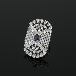 Sapphire Blue CZ Rhodium Plated Alloy Crystal Adjustable Ring