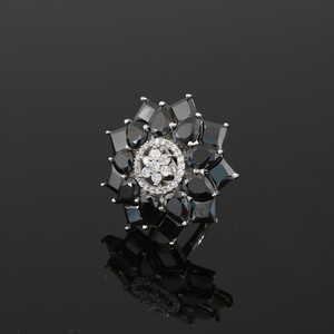 CZ Black Rhinestone Crystals Adjustable Ring