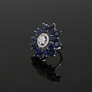 Large Zircon CZ Sapphire Blue Rhinestone Crystals Adjustable Ring