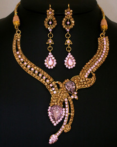 Gold plated Topaz and Light Pink Polki Jewelry Set