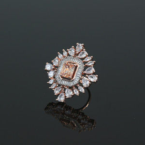 Golden Topaz and White Cubic Zirconia Women Ring