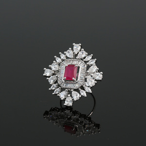Pink Ruby and White Cubic Zirconia Women Wedding Ring