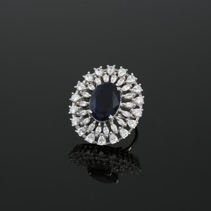 Adjustable Ring with Oval Cut Sapphire Blue Cubic Zirconia Center Stone with Clear CZ