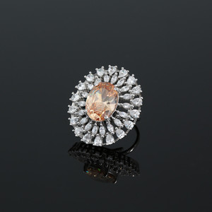 Adjustable Ring with Oval Cut Topaz Cubic Zirconia Center Stone with Clear CZ