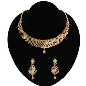 Latest Gold Plated Grand Party Wear Ruby CZ Bridal Choker Artificial jewellery