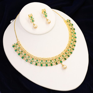 Emerald Pear CZ Stone Floral Design Bridal Necklace