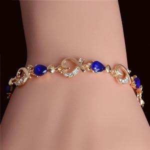 18 Karat Gold Plated Sapphire Blue Crystal Heart Link Chain Bracelet