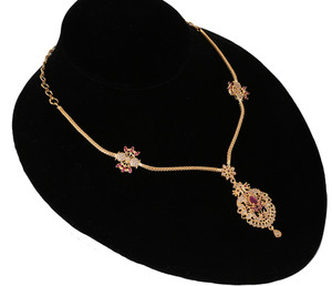 17 Inch Long Chain Gold Plated Alloy Pink Ruby AD Rhinestone Fancy Pendant