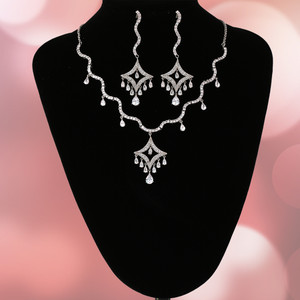 Silver plated CZ White Stone Embellished Necklace Earrings