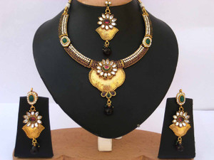 Fashion Gold plated Amethyst and clear stones Polki set Jewelry-03PLK203