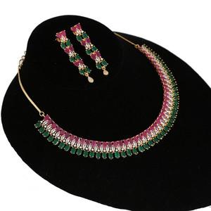 Shining Cubic Zircon Multicolor Necklace Heavy Jewelry Set
