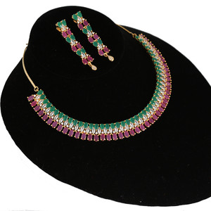Shining Cubic Zircon Pink Ruby and Emerald Necklace Heavy Jewelry Set