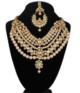 Royal Meena Kundan Pearls Designer Jewelry Necklace with Maang Tikka