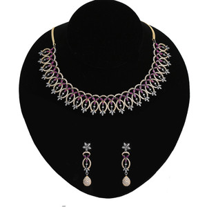 Antique Gold and Rhodium Plated Pink Ruby CZ Rich Lady Necklace