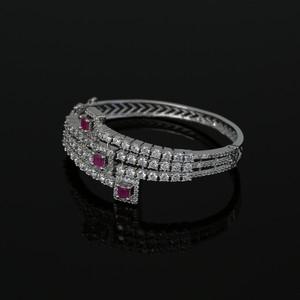 Zircon CZ Rhodium Plated Openable Bracelet Kada Jewelry with Ruby Stone