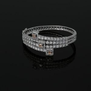 Zircon CZ Rhodium Plated Openable Bracelet Kada Jewelry with Topaz Stone