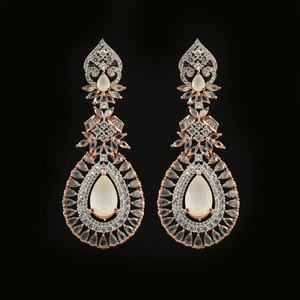 Large White Moonstone Crystal Wedding Rose Gold Plated Teardrop Earrings