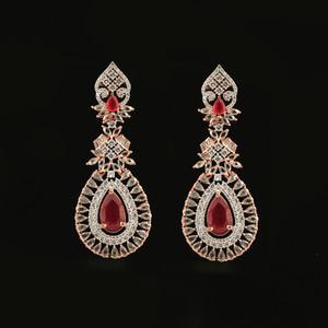 Large Pink Ruby Crystal Wedding Rose Gold Plated Teardrop Earrings