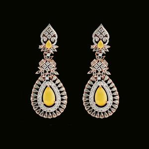 Large Yellow Moonstone Crystal Wedding Rose Gold Plated Teardrop Earrings