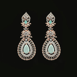 Large Turquoise Crystal Wedding Rose Gold Plated Teardrop Earrings