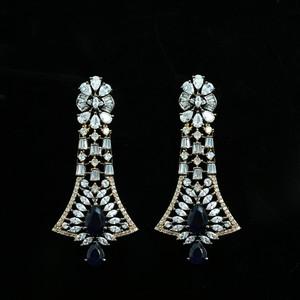 Antique Tone Gold plated Sapphire Blue Crystal Rhinestone Dangle Drop earrings