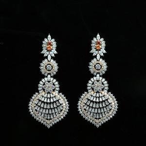 Golden Topaz Rhinestone Crystal Large Antique Gold bridesmaid earrings
