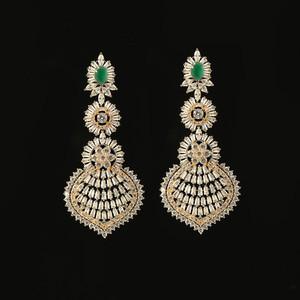 Emerald Green Rhinestone Crystal Large Antique Gold bridesmaid earrings