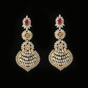 Ruby Pink Rhinestone Crystal Large Antique Gold bridesmaid earrings