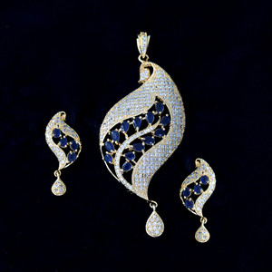 Unique Design Bollywood Fashion Handcrafted Sapphire Blue AD Pendant Earrings