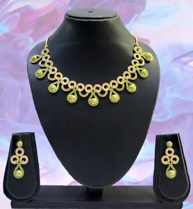 Latest Gold plated Luxurious Fashion Green Meenakari Work Women Crystal Jewelry