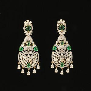 Gold Plated Kundan Green and Clear Cubic Zircon Alloy Chandbali Earrings India