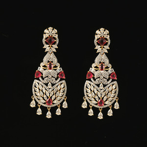 Gold Plated Kundan Pink and Clear Cubic Zircon Alloy Chandbali Earrings India