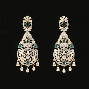 Gold Plated Blue Zircon and Clear Cubic Zircon Alloy Chandbali Earrings India