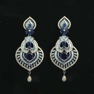 Micro Gold Polished Cubic Zirconia Brass Metal Earrings with Simulated Blue Stone