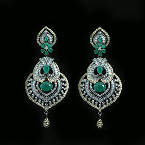 Micro Gold Polished Cubic Zirconia Brass Metal Earrings with Simulated Emerald Stone