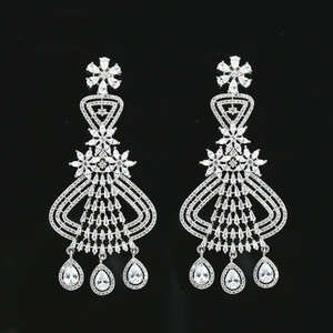 White Teardrop CZ Rhodium Plated Indian Traditional Flower Drop Chandelier Earrings