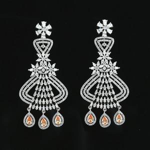 Topaz Teardrop CZ Rhodium Plated Indian Traditional Flower Drop Chandelier Earrings
