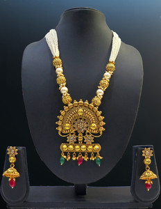 One Gram Gold Plated Pearl Beaded Big Pendant Necklace Jhumka Earrings