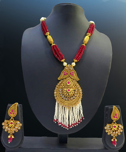 Handmade Multi Stringed Ruby Pearl Necklace Big pendant with White Tassel Beads