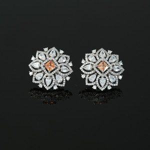 Golden Topaz CZ Clip On Shiny silver Rhodium Plated Floral Stud Earrings for Women