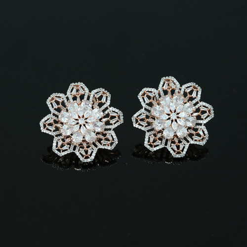 Large Flower Crystal Round Rhinestone Clear Clip on Earrings Woman Zircon Jewelry