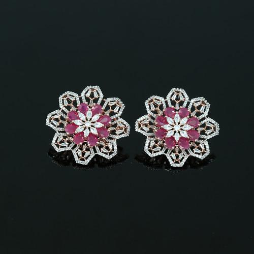 Large Flower Crystal Round Rhinestone Ruby Clip on Earrings Woman Zircon Jewelry